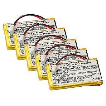 Battery 5-Pack for Plantronics CS50, CS55, HL10, Headsets 65358-01, 64399-01 - 230mAh 5x
