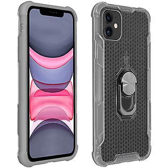 Custodia bimateriale con portaanelli rotative in metallo per Apple iPhone 11 - Grigio