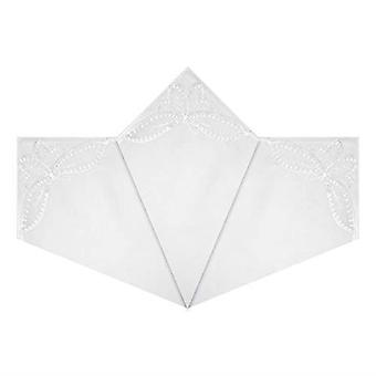 Womens/Ladies Handkerchiefs White Cotton With Butterfly Lace Corners, Gift Boxed