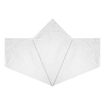 Női / női zsebkendők fehér pamut pillangó csipke sarkok, ajándék dobozos