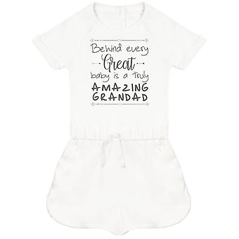 Behind Every Great Baby Is A Truly Amazing Grandad Baby Playsuit