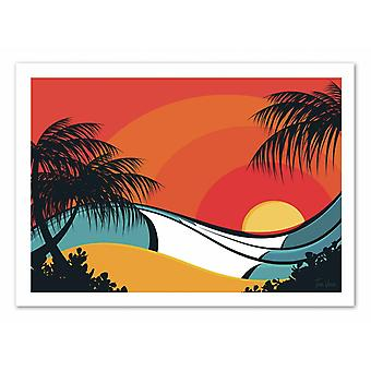 Konst-affisch-pipeline Waves-tom Veiga 50 x 70 cm