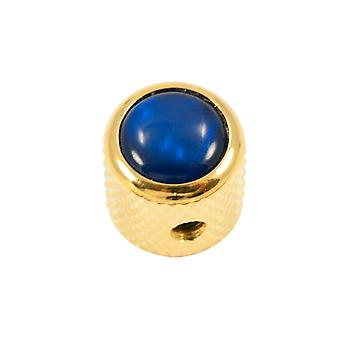 Q Parts Mini - Dome Knob - Abalone Shell Cap - Blue / Gold