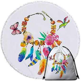 Colorful Feather Necklace Beach Towel