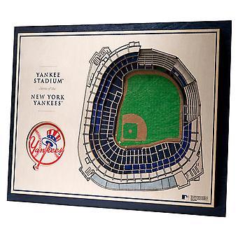 Youthefläkt trä väggdekoration Stadium New York Yankees 43x33cm