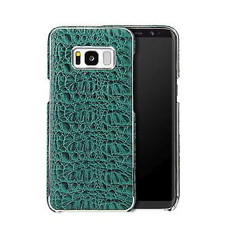 For Samsung Galaxy S8 Case,Fierre Shann Crocodile Genuine Leather Cover,Green
