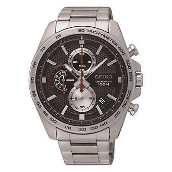 Seiko Chronograph Quartz Black Dial Silver Stainless Steel Men's Watch SSB255P1