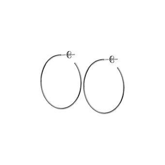 14k oro blanco ovalado forma medio aro pendientes de joyería regalos para las mujeres