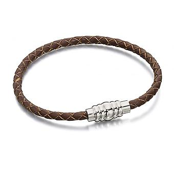 Fred Bennett Stainless Steel Magnetic Clasp & Brown Leather Bracelet