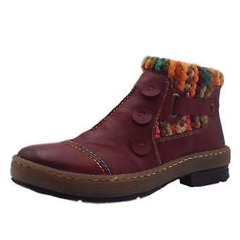 Rieker Z6759-35 Frieza Fleece lined botas cortas en rojo Combi