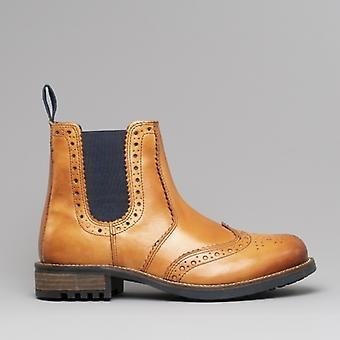 Catesby Shoemakers Ragnar Mens Brogue Chelsea Ankle Boots Tan