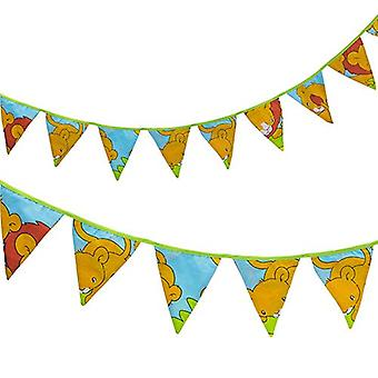 Ready Steady Bed� Fabric Bunting Flags Banner | Printed Polycotton Party and Bedroom Decoration for Kids | Birthday Bunting for Girls or Boys | 3 Metres (Savannah)
