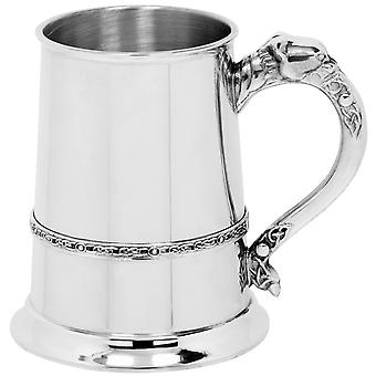 Celtic Lion Handle Single Band Pewter Tankard - 1 Pint