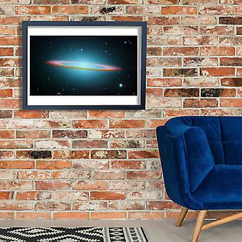 Hubble Telescope - Sombrero Galaxy in infrared light Poster Print Giclee