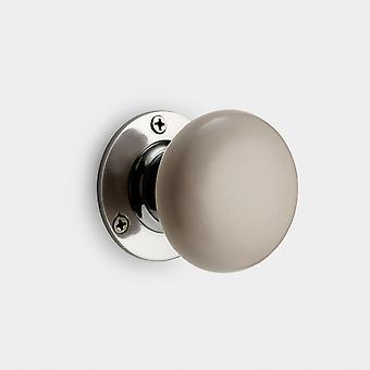 Botão da porta do interior da cerâmica - Cinza Claro