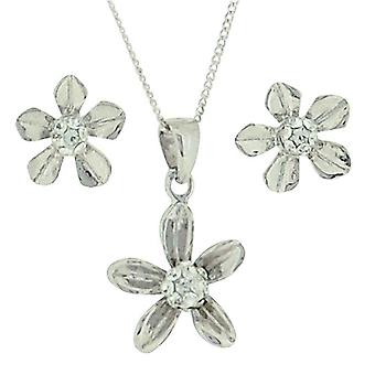TOC Girls Sterling Silver Flower Earrings & Pendant Necklace Set 14