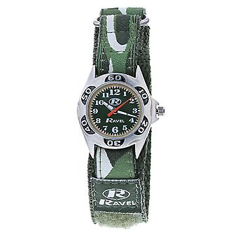 Ravel Children es Camouflage Army Watch Green Dial with Easy Fasten Action Strap R1507 CAMO