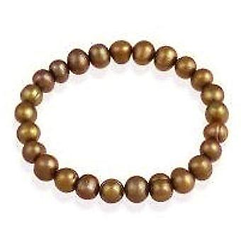 TOC Spherical Dyed Copper Freshwater Cultured Pearl Stretch Bracelet 7 Inch