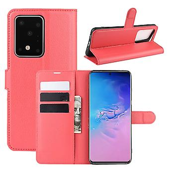 Für Samsung Galaxy S20 Ultra Case, lebendige PU Leder Brieftasche Abdeckung mit Ständer, rot
