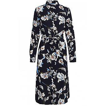 b.young Navy Floral Print skjorte kjole