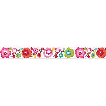 Valmis tasainen sänky kukka piste suunnittelu lapset & apos; s itseliimautuva vinyyli tapetti raja 15cm leveä 5 metriä pitkä