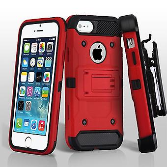 Asmyna Kinetic Hybrid Case with Holster for Apple iPhone 5/5S - Red/Black