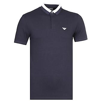Emporio Armani Twin Colour Contrast Navy Polo Shirt