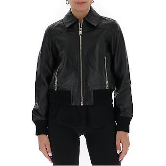 Michael Von Michael Kors Mu02j6j8rk001 Damen's Schwarz Leder Outerwear Jacke