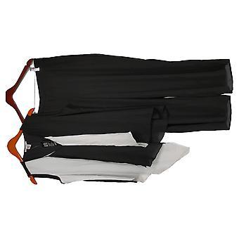Masseys Plus Set Asymmetric Sleeveless Top & Pant Set Black/White