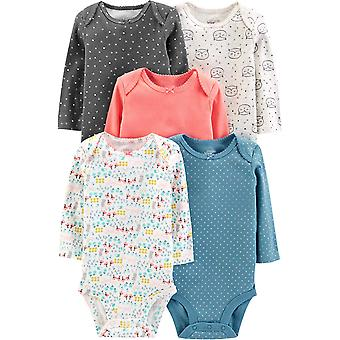 Simple Joys by Carter's Girls' 5-Pack Long-Sleeve Bodysuit, Solid, 12 Months