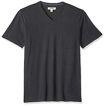 Goodthreads Men's Short-Sleeve Sueded Jersey V-Neck Pocket T-Shirt, Black, Me...