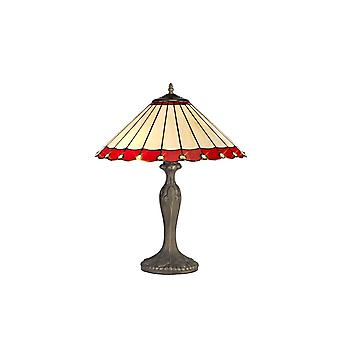 2 Light Curved Table Lamp E27 With 40cm Tiffany Shade, Red, Crystal, Aged Antique Brass