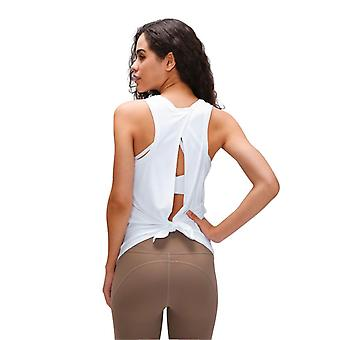 Frauen Yoga Open Back Self-Tie Relaxed Fit Tank Top