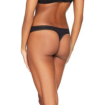 Iris & Lilly Women's Cotton Low Rise Thong,  Pack of 5,  Black,, Black, Size 4.0
