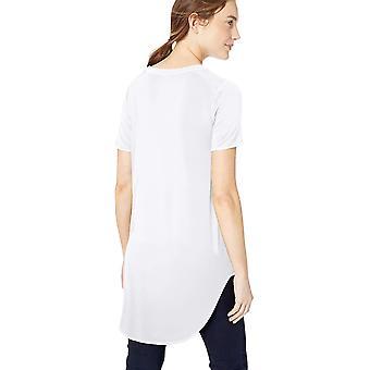 Brand - Daily Ritual Women's Jersey Short-Sleeve Open Crew Neck Tunic, White, X-Small