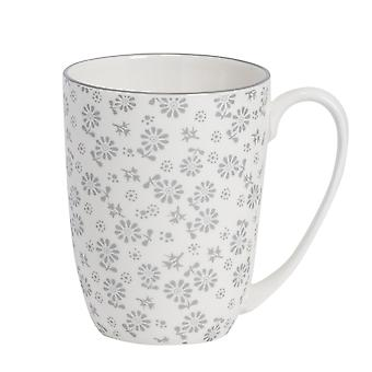 Nicola Spring Daisy Patterned Tea and Coffee Mug - Large Porcelain Latte Cup - Grey - 360ml