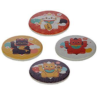 Set of 4 Novelty Coasters - Lucky Cat Maneki Neko X 1 Pack