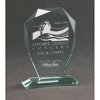 Gegraveerde glazen trofee met koffer