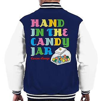 Neugierige George Hand In der Candy Jar Männer's Varsity Jacke