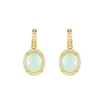Earrings Gold Aqua Chalcedony Onyx Stud Gemstone Dangle Gift 925 Statement Bold