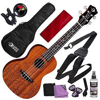 Luna uke tattoo concert acoustic mahogany ukulele with deluxe accessory bundle