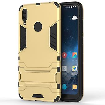 Shockproof PC + TPU Case for Huawei Y7(2019), with Holder(Gold)