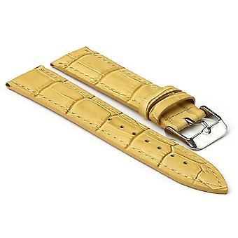 حزام ساعة جلدية مبطنة منقوش من تمساح Strapsco