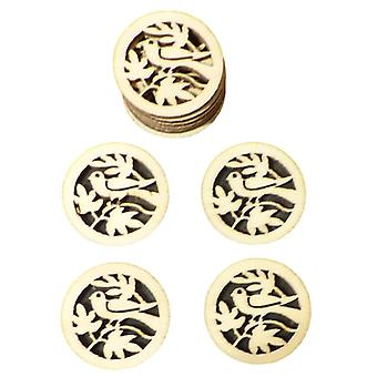50pcs Rustic Round Wooden Circles with Bird and Leaves Confetti Embellishments