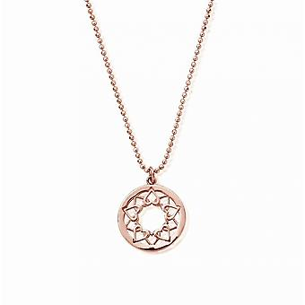 ChloBo RCDC1469 Frauen's Diamant geschnitten Kette mit Herz Mandala Anhänger