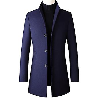 Winter 30% Wool Men Thick Coats Slim Fit Stand Collar Male Outwear Jackets