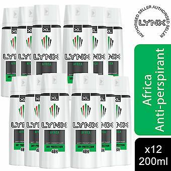 Lynx XL Anti-Transpirant Deodorant for Men, Afrika, 12 Pack, 200ml