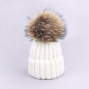Parent-child Caps, Cute Infant Baby Pompon Winter Hat Scarf Sets, Real Natural
