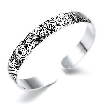Bracelet noir Unisex Silver Leaf