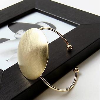 Classic Open Brushed Big Round Geometric Cuff Bracelet